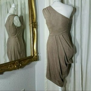 Bebe Kardashian tan dress